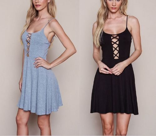 Ladies Strappy Plain Sexy Cross Sleeveless Fitted Flared Skater Party Dress